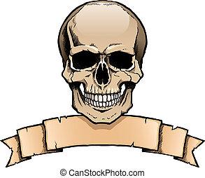 ludzki, tasiemkowa chorągiew, barwny, czaszka