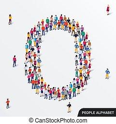 ludzkie ludzie, form., wielki, litera, grupa, alphabet., o