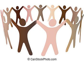 ludzkie ludzie, rozmaity, tony, skóra, ring, mieszanka