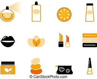 &, luksus, kosmetyki, pomarańcza, czarnoskóry, wellness, (, komplet, ikona, )