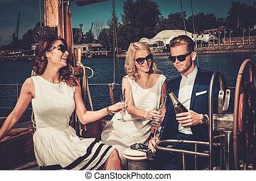 luksus, posiadanie, przyjaciele, jacht, bogaty, zabawa, szykowny