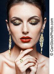 lustrzany, makijaż, twarz
