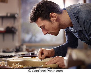 lutemaker, warsztat, rzemieślnik, pracujący, włoski