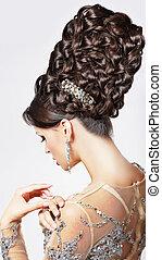 luxury., styl, fason, -, updo, tress., modny, wzór, skręcony, moda