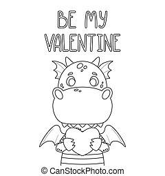 mój, valentine, dragon., kartka pocztowa, czuć się