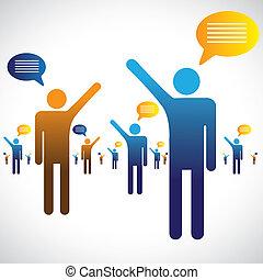 mówiąc, gaworząc, ikony, dużo, graphic., ludzie, ilustracja, jeden, symbolika, inny, pogawędka, albo, rozmawianie, widać