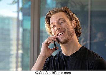 mówiąc, komórka głoska, znowu, uśmiechnięty człowiek