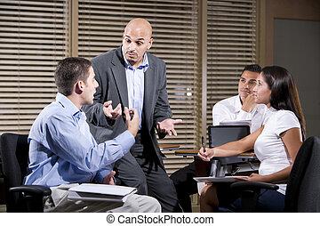 mówiąc, pracownicy, grupa, dyrektor, biuro