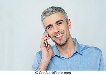 mówiąc, telefon, komórka, średni niemłody, człowiek