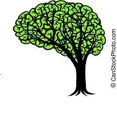 mózg, drzewo, ilustracja, connectivity, projektować, logo