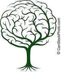 mózg, drzewo, ilustracja