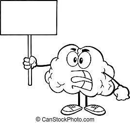 mózg, konturowany, czysty, dzierżawa, znak