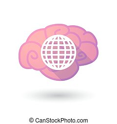 mózg, kula, ikona, świat
