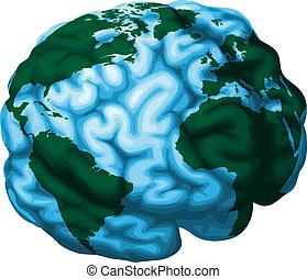 mózg, kula, ilustracja, świat