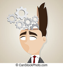 mózg, mechaniczny, rysunek, biznesmen
