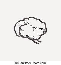 mózg, rys, ludzki, ikona