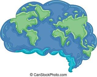 mózg, ziemia, myśleć, ilustracja