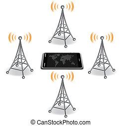mądry, anteny, telefon, dookoła