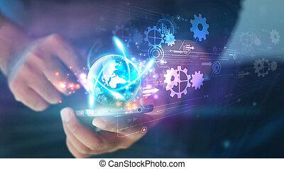 mądry, cyfrowy, dotyk, towarzyski, pojęcie, media, ekran, głoska., ręka, technologia