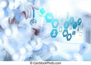 mądry, doktor, pracujący, operowanie, medyczny, pokój, pojęcie