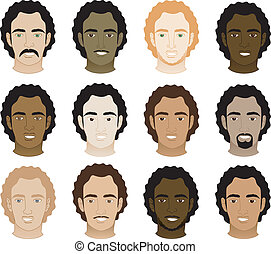 mężczyźni, afro, kędzierzawy, twarze
