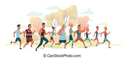 mężczyźni, clothes., grupa, wypadek, natura, ubrany, wyścigi, krajobraz., prąd, kobiety, atletyka, trudny, lekkoatletyka, każdy, uczestnicy, ludzie, outrun, inny, maraton