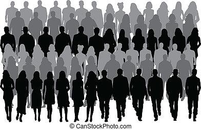 mężczyźni, ludzie, kobiety, -, grupa