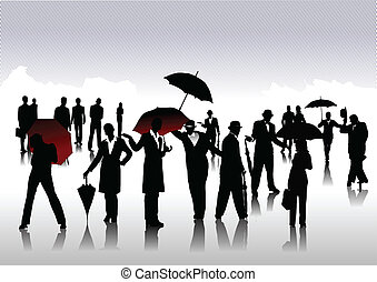 mężczyźni, parasol, sylwetka, kobiety