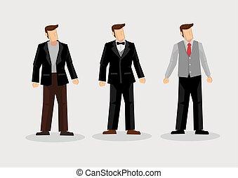 mężczyźni, wektor, litera, fason, ilustracja