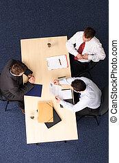 mężczyźni, wywiad, handlowy, praca, -, trzy, spotkanie