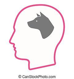 męska głowa, pies, odizolowany