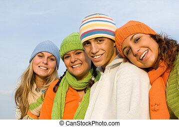 młodość, uśmiechanie się, grupa, szczęśliwy