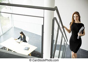 młody, biuro, kobiety