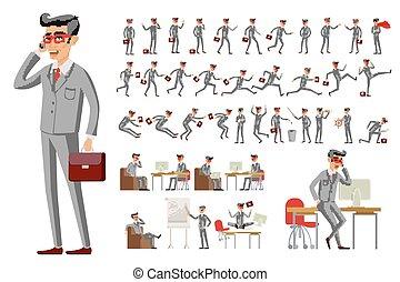 młody, ilustracja, wektor, różny, biznesmen, pozy, rysunek, przystojny