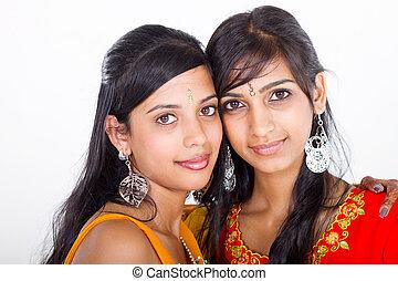 młody, indianin, dwa kobiet