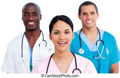 młody, medyczny zaprzęg, portret