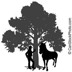 młody, reputacja, drzewo, pod, koń, kobieta, dąb