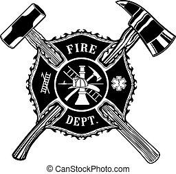 młot, siekiera, krzyż, sanie, firefighter