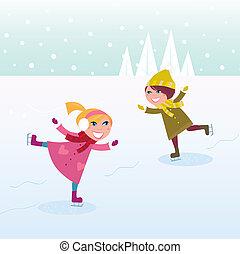 mała dziewczyna, chłopiec, lód łyżwiarstwo