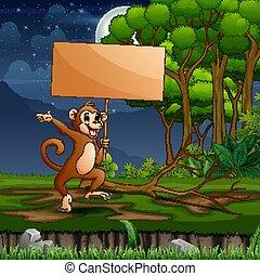 małpa, drewniany, las, dzierżawa, znak