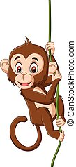 małpa, drzewo gałąź, wisząc, niemowlę, rysunek