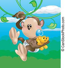 małpa, ilustracja, sprytny