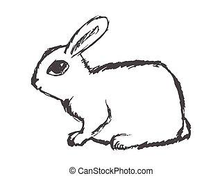 mały, ładny, królik, widok budynku
