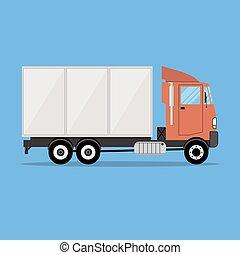 mały, ładunek, nowoczesny, przewóz, wózek