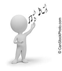 mały, śpiewak, 3d, -, ludzie