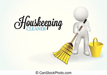 mały, 3d, housecleaning, ludzie