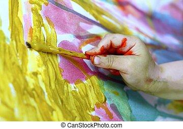 mały, barwny, artysta, ręka, szczotka, malarstwo, dzieci