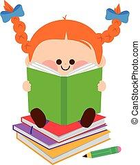 mały, books., ilustracja, wektor, dziewczyna czytanie