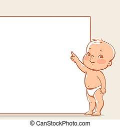 mały, chorągiew, niemowlę