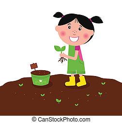 mały, dosadzenie, szczęśliwy, roślina, koźlę